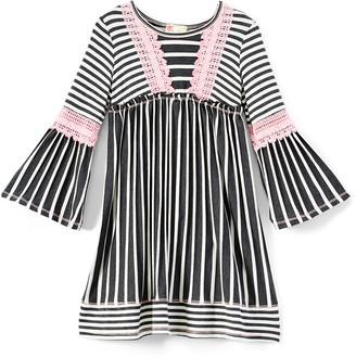 Pink Vanilla Girls' Casual Dresses CHARCOAL/PINK - Charcoal & Pink Stripe Empire-Waist Dress - Toddler & Girls