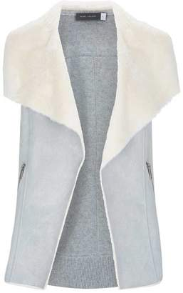 Mint Velvet Grey Knit Back Faux Fur Gilet