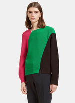 J.w. Anderson Men's Colour-blocked Thick Ribbed Knit Sweater In Black, Pink And Green