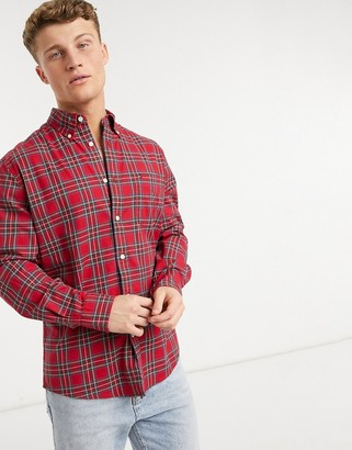 Tommy Hilfiger dylan tartan plaid long sleeve shirt in red