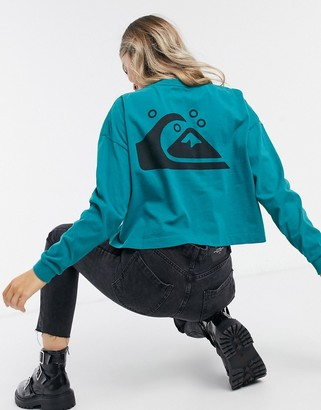 Quiksilver screen-print long sleeved graphic t-shirt in teal