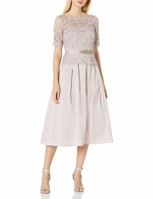 Adrianna Papell Women's Midlength Taffeta Gown with Lace