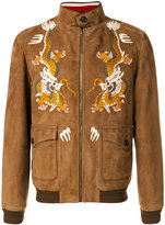 Gucci dragon embroidered jacket - men - Silk/Acrylic/Polyamide/Camel Leather - 48