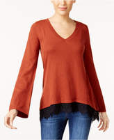 Style&Co. Style & Co Petite Lace-Trim Sweater, Created for Macy's