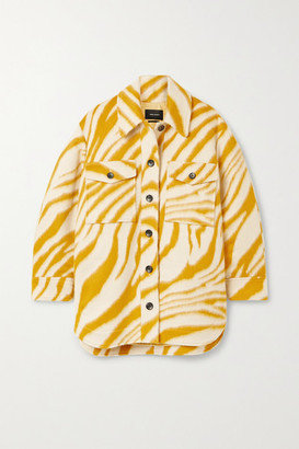 Isabel Marant Harvey Oversized Zebra-print Brushed Wool Jacket - Yellow