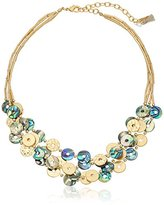 """lonna & lilly Pacific Tides"""" Worn Gold-Tone Multi-Row Shaky Shells Frontal Necklace, 16.5"""" + 4"""" Extender"""