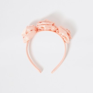 River Island Girls Pink flower embellished headband