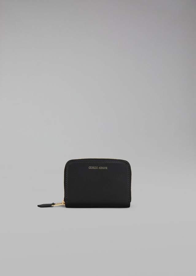 Giorgio Armani Coin Purse In Leather