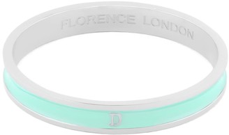 Florence London Initial D Bangle Silver Trim With Turquoise Enamel
