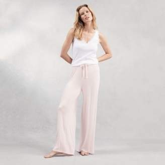 The White Company Wide-Leg Ribbed Pyjama Bottoms, Pale Pink, Extra Small