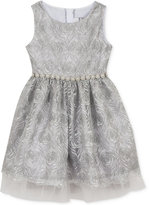 Rare Editions Silver Mesh Embroidered Dress, Big Girls (7-16)