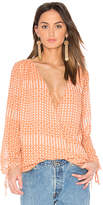L'Academie The Long Sleeve Wrap Blouse in Yellow