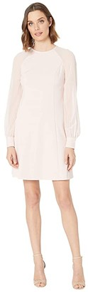 Calvin Klein Chiffon Sleeve A-Line Dress (Petal) Women's Dress