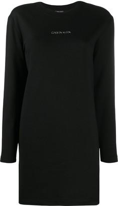 Calvin Klein Logo Long-Sleeve Dress