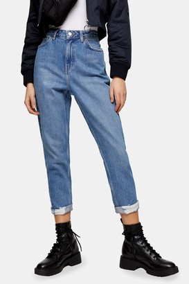 Topshop Womens Petite Mid Stone Mom Tapered Ripped Jeans - Mid Stone
