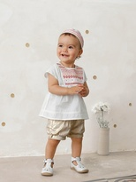 Vertbaudet Baby Girls Embroidered Blouse + Shorts + Headscarf