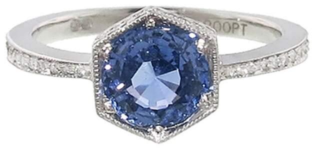 Cathy Waterman Hexagonal Blue Sapphire Bezel Ring