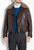 Burberry Chocolate Leather Aviator Jacket