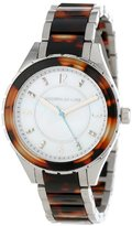 Kenneth Jay Lane Women's KJLANE-2214 Mother-Of-Pearl Dial Stainless Steel and Brown Tortoise Resin Watch