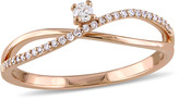 Julie Leah 1/8 CT TW Diamond 14K Rose Gold Crossed Band Promise Ring