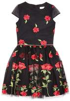 David Charles Girls' Rose Print Dress - Sizes 7-16