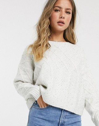 Miss Selfridge sparkle cable knit jumper in cream