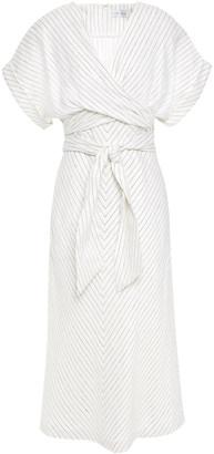 Rebecca Vallance Tie-front Pinstriped Linen-blend Midi Dress