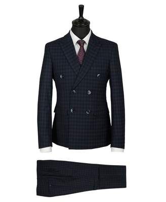 House Of Cavani Checked Double Breasted Suit Colour: NAVY, Size: 44