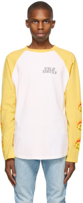 Palm Angels White and Yellow Smiley Edition Burning Head Long Sleeve T-Shirt