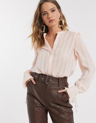 Vero Moda textured blouse with cuff details in blush