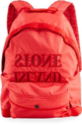 Stone Island Boy's Nylon Backpack w/ Backwards Logo Applied Letters