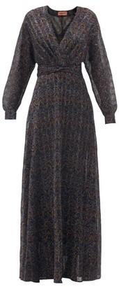 Missoni V-neck Wave-jacquard Lame Dress - Silver Multi