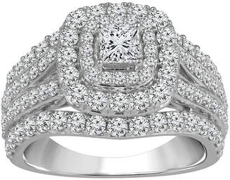 FINE JEWELRY Womens 2 CT. T.W. Genuine White Diamond 14K White Gold Engagement Ring