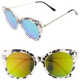 BP Women's Kitty 52Mm Mirrored Cat Eye Sunglasses - Black/ White/ Green
