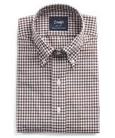 Drakes Drake's Button-down Brown Gingham Shirt