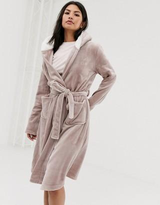 Asos Design DESIGN super soft hooded midi robe-Brown