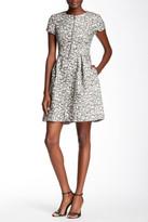 Eliza J Zip Front Leopard Knit Jacquard Fit & Flare Dress