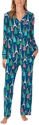 Bedhead Pajamas Long Sleeve Classic Notch Collar Pajama Set (Cotton Spandex) (Parisienne Holiday) Women's Pajama Sets