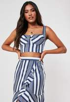 Missguided Blue Co Ord Stripe Bust Cup Crop Top