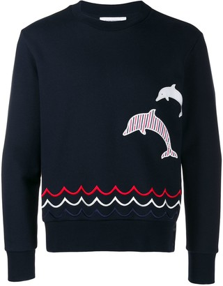 Thom Browne Dolphin Embroidery crew neck Sweatshirt