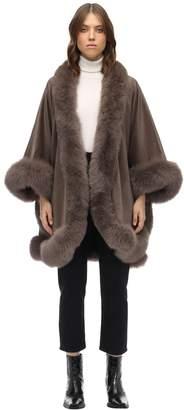 Liska Cashmere Cape W/ Fox Fur Trim