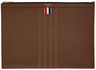 Thom Browne Brown Medium Gusset Zipper Tablet Holder