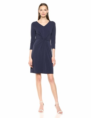 Lark & Ro Crepe Knit Faux Wrap Dress Navy 16