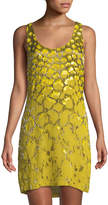 Roberto Cavalli Sleeveless Sequined Silk Crepe Mini Dress