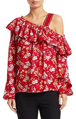 Derek Lam Asymmetric Floral Silk-Blend Blouse