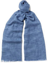 Loro Piana Brina Mélange Cashmere And Silk-blend Scarf - Blue