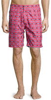 Peter Millar Waimea Floral-Print Swim Trunks, Red Pattern