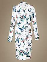 M&S Collection Pure Cotton Parrot Print Waffle Dressing Gown