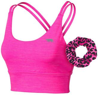 Running Bare Womens Lotus Long Line Sports Bra + Scrunchie