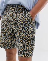 Asos Design DESIGN slim shorts in washed leopard print